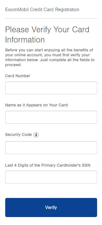 Exxon Mobil Credit Card Registration