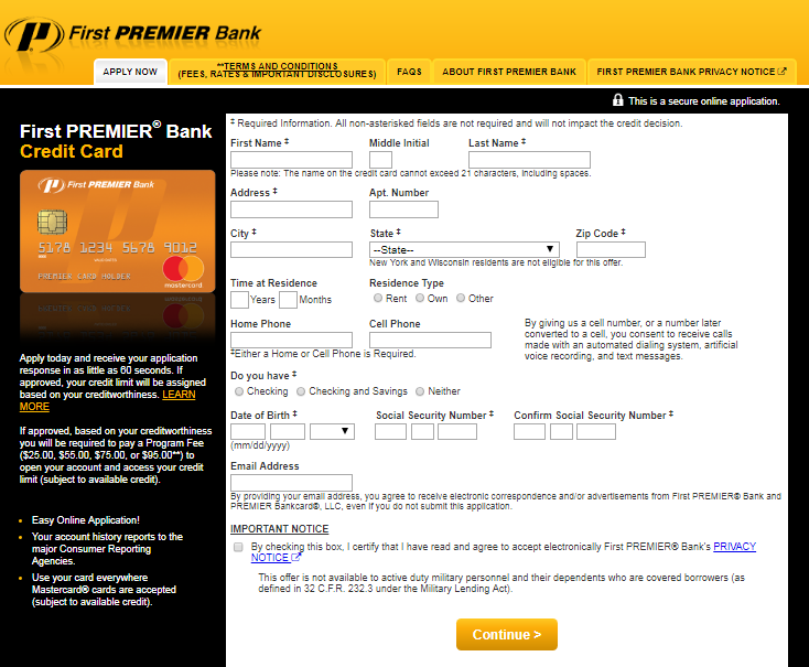 First PREMIER Bank Credit Card Application