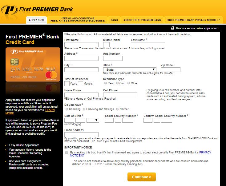 First PREMIER Bank Credit Card Application