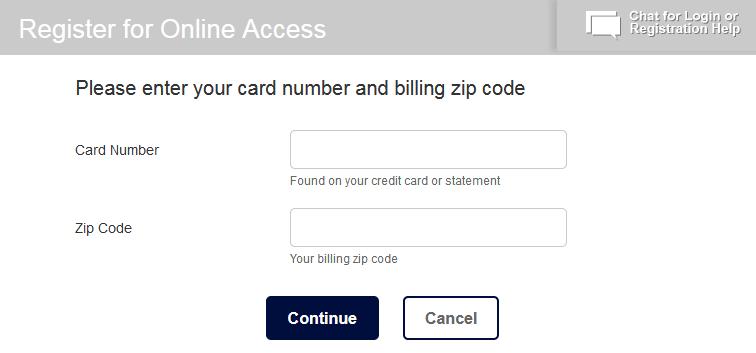 Gap credit card Registration
