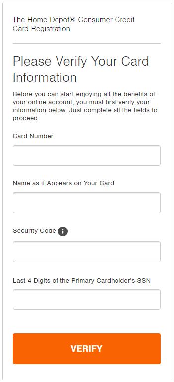 Homedepot Credit Card Registration