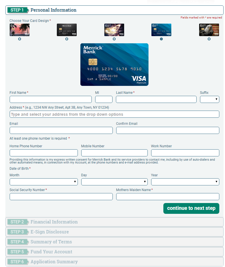 Merrick Bank Credit Card online Application
