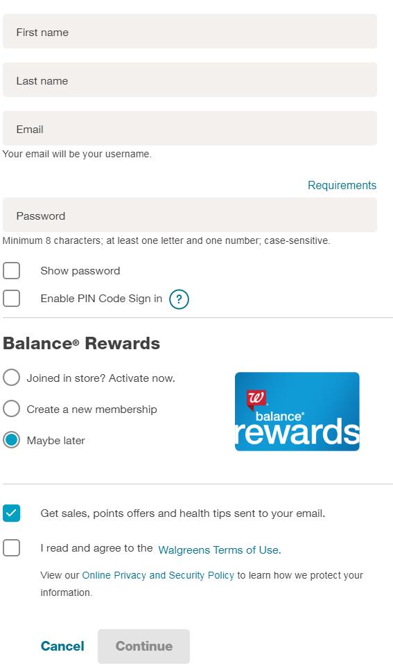Register for Walgreens Balance Rewards