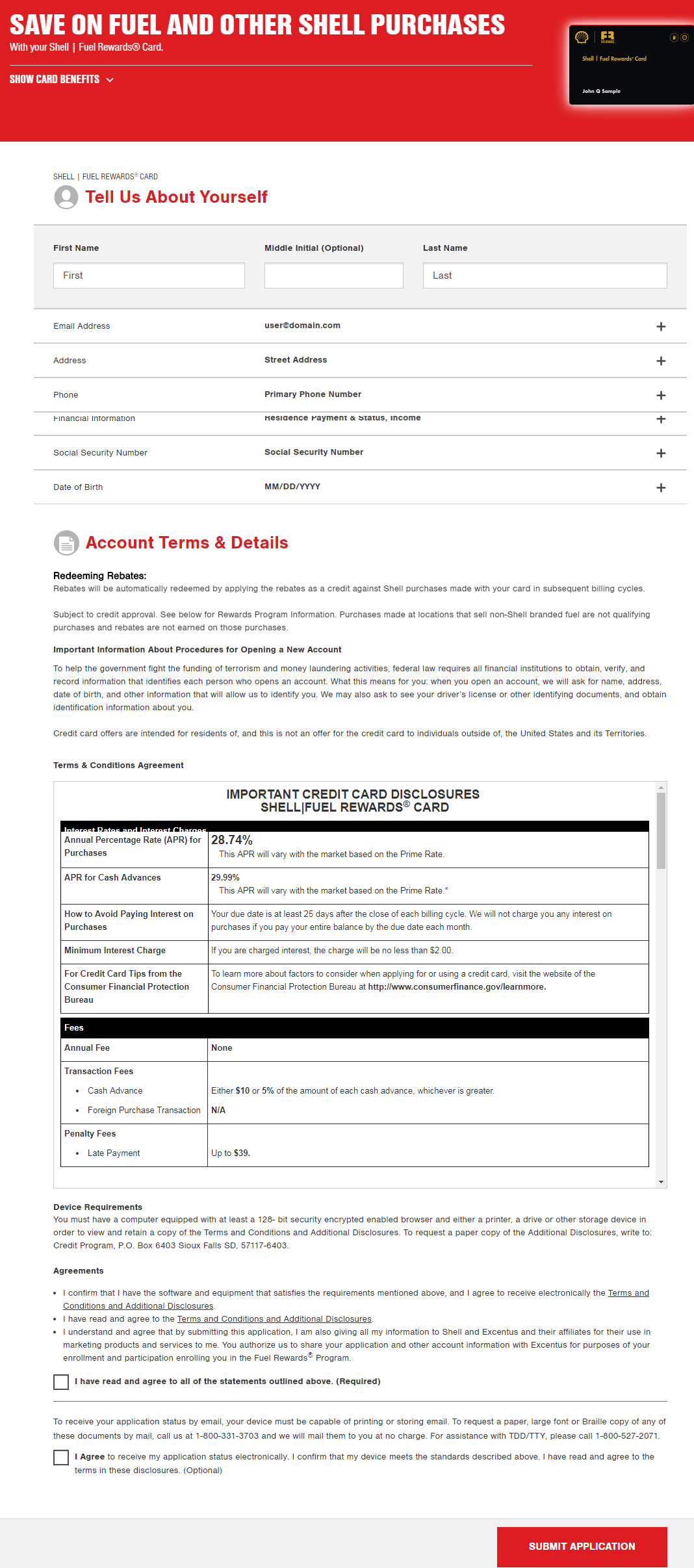 Shell Fuel Rewards Card Application Form