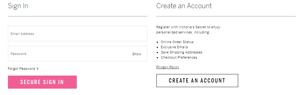 Victoria s Secret Account Register