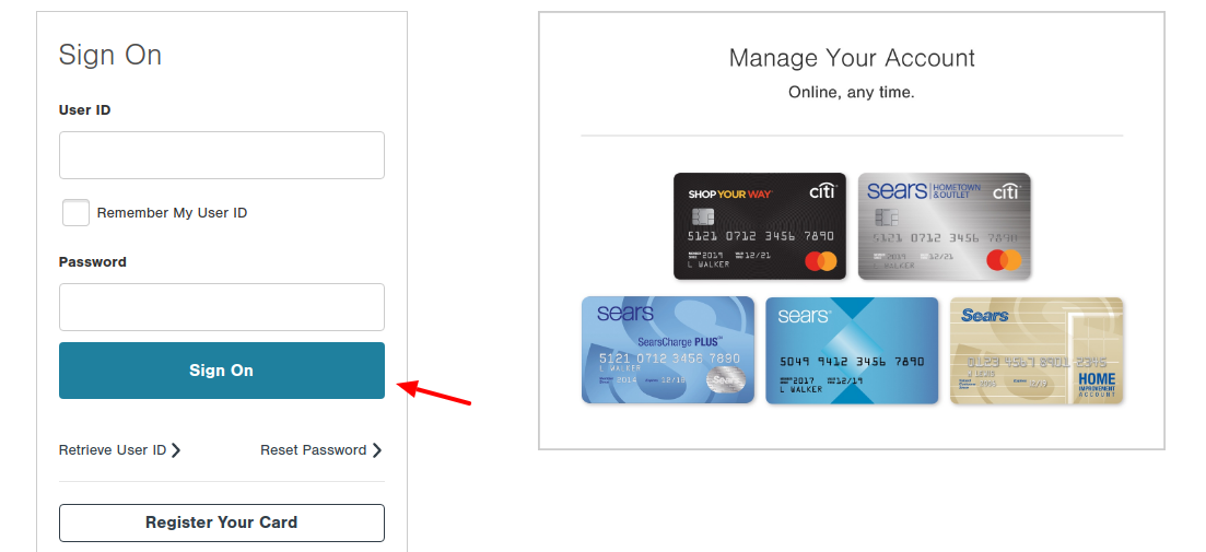 ShopYourWay Credit Card Log In