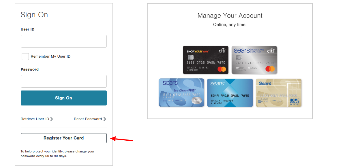 ShopYourWay Credit Card Register