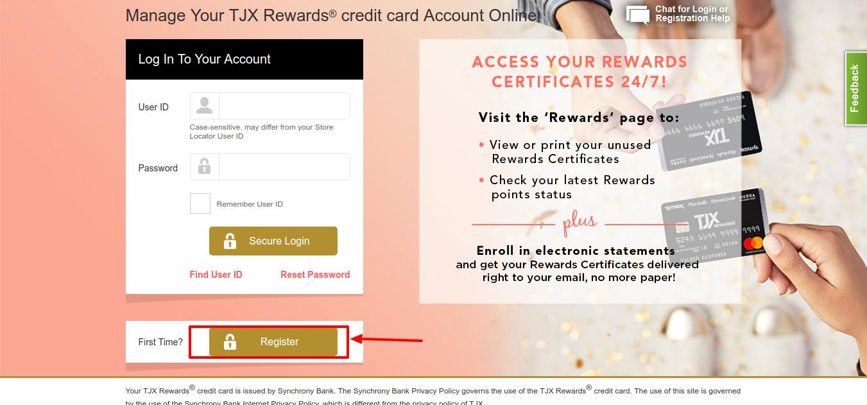 TJX Rewards credit card Regiseter