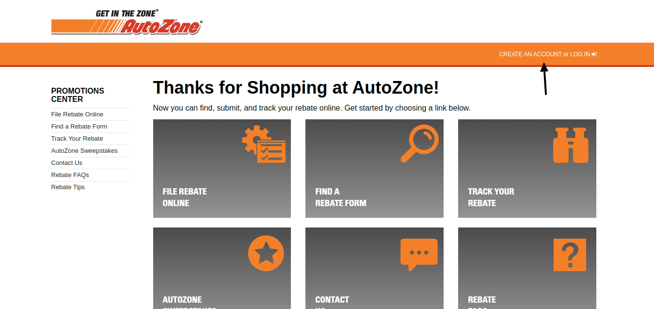 AutoZone Promotions Center Create Account