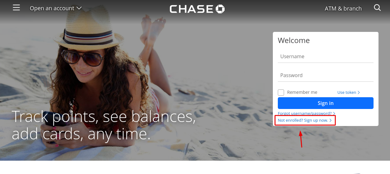 Chase Sign Up