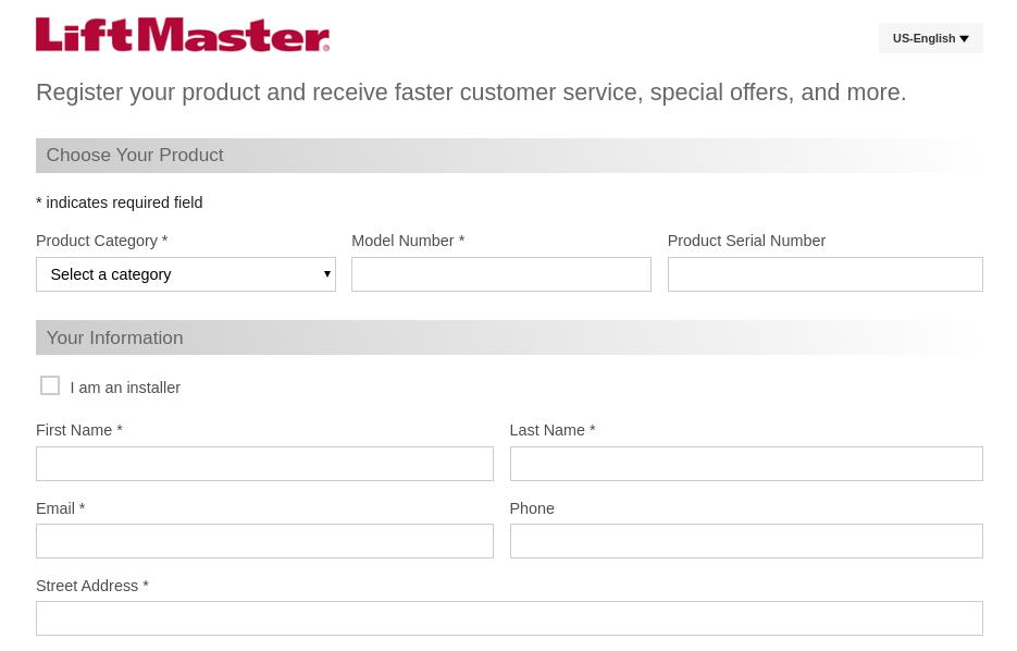 LiftMaster Register