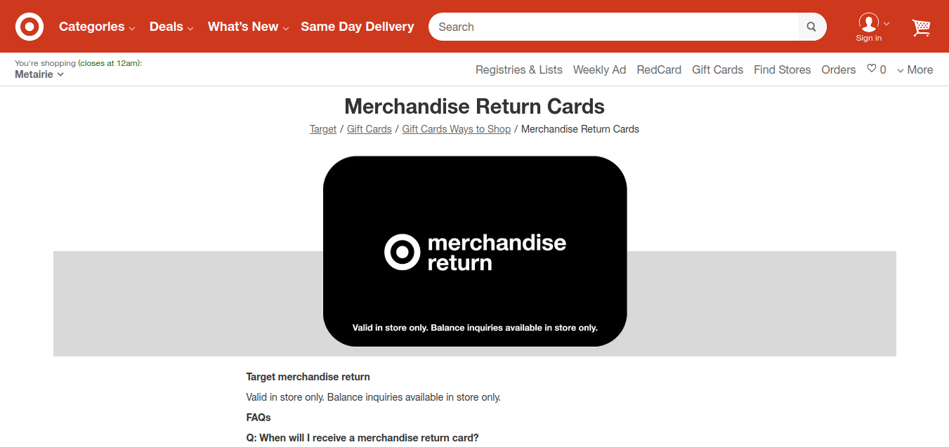 Merchandise Return Cards Target