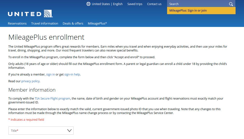 MileagePlus enrollment United Airlines Enroll