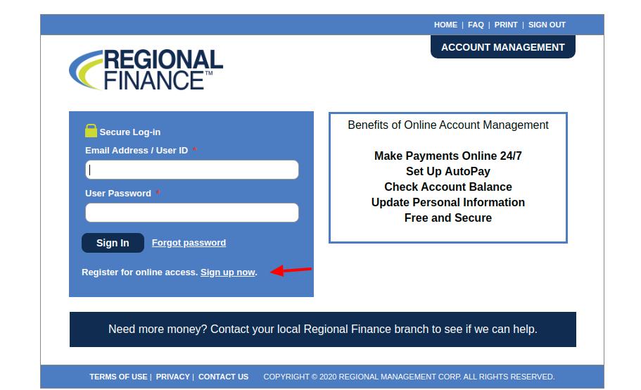 Regional Finance Sign Up