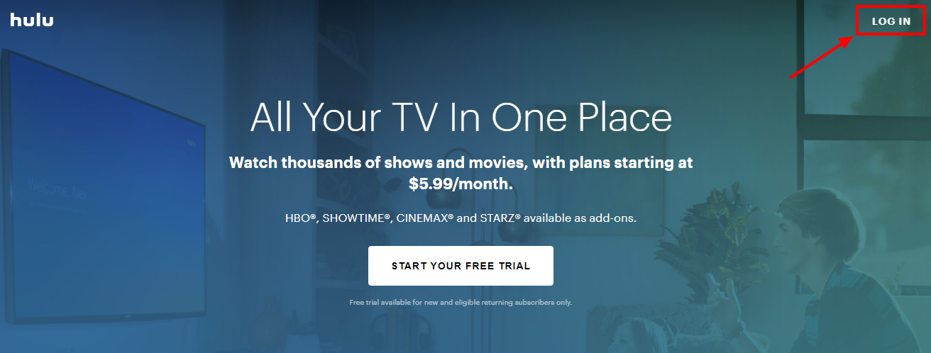 Activate or log in to Hulu Account
