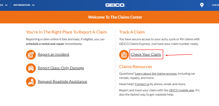 Track a claim online with Geico