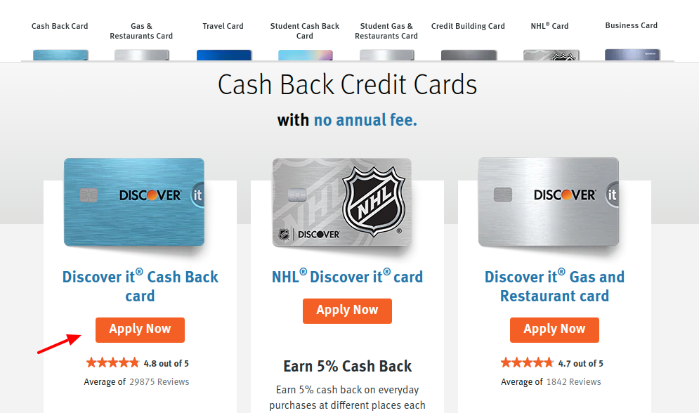 Discover Cash Back Card Apply