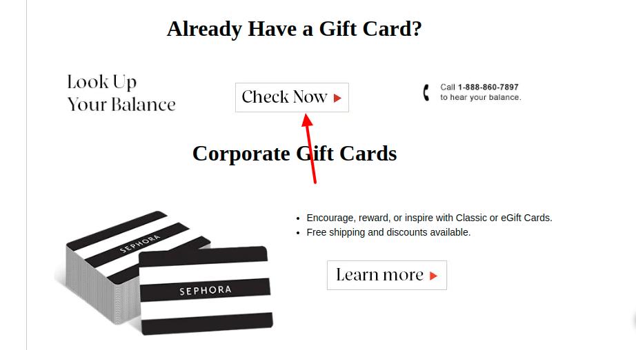 Sephora Gift Card Balance Check