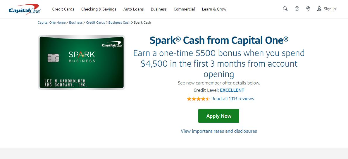 Capital One Spark Credit Card Apply
