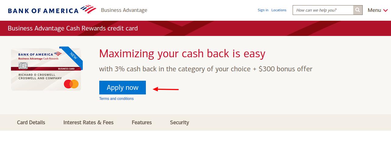 Business Advantage Cash Rewards Credit Card Apply