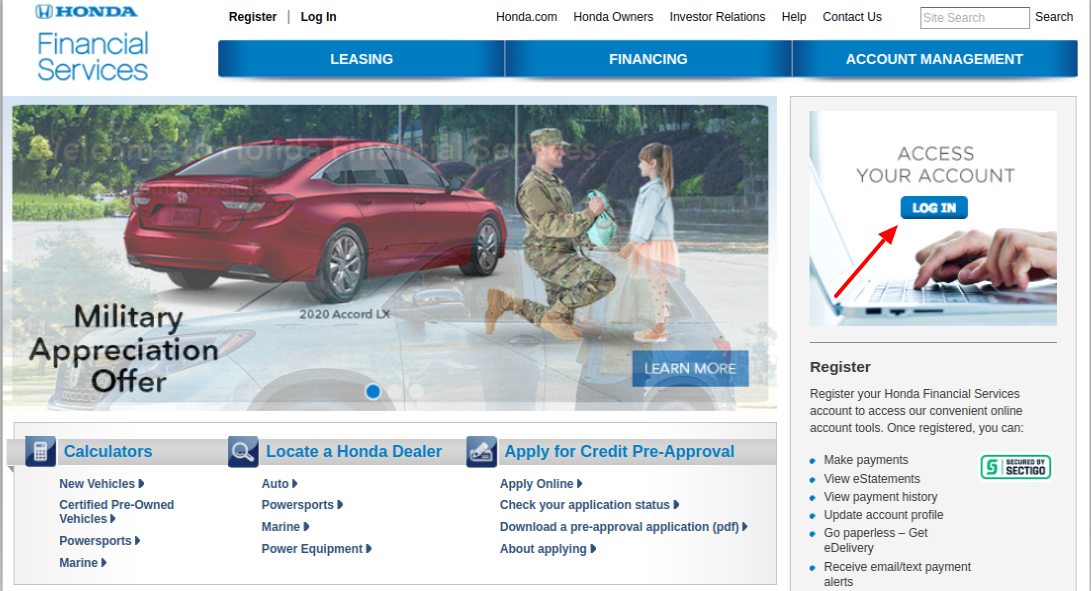 Honda Financial Services login