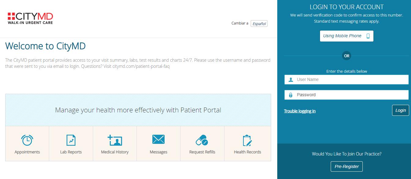 citymd patient portal login
